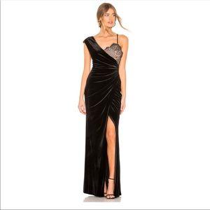 BCBGMaxAzria One Shoulder Velvet & Lace Gown